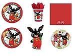 Party Store web by casa dolce casa Bing Coordinato ADDOBBI Festa - Kit n°5 CDC-(16 Piatti 23 CM,16 Bicchieri,50 TOVAGLIOLI Rossi,1 Pallone Foil,1 SUPERSHAPE)