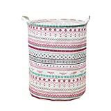 SMILEQ Waterproof Canvas Laundry Clothes Basket Container Folding Storage Barrels Box (B)