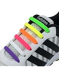 Newkeen sin corbata Cordones de zapatos para niños y adultos cordones de zapatos de atletismo atlética de silicona elástico plano de los zapatos del tablero Sneaker boots
