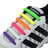 Newkeen No Tie Shoelaces for Kids and Adults, Waterproof Silicon Flat Elastic Athletic Running Shoe Laces with Multicolor for Sneaker Boots Board Shoes and Casual Shoes (Mix Color)