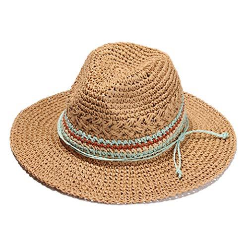Donad Frauen breiter Krempe Stroh Skimmer Hut Roll-up Hut Fedora Summer Beach Sonnenhut -