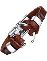 Veuer 100% Echt Leder Surfer-Armband in Braun Anker Schmuck für Herren Edelstahl Geschenk zu Weihnachten für Männer , Freund , Ehe-Mann