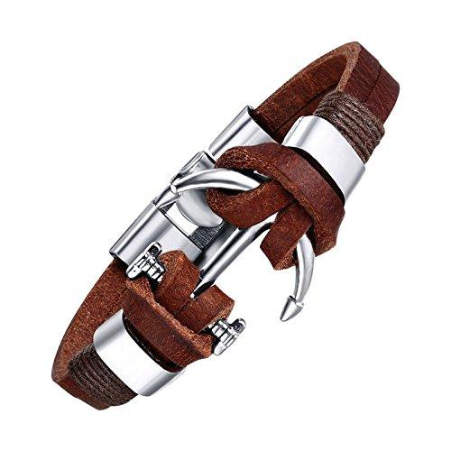 Veuer Leder Surfer-Armband in Braun Anker Schmuck für Herren Edelstahl Geschenk zu Weihnachten für Männer, Freund, Ehe-Mann