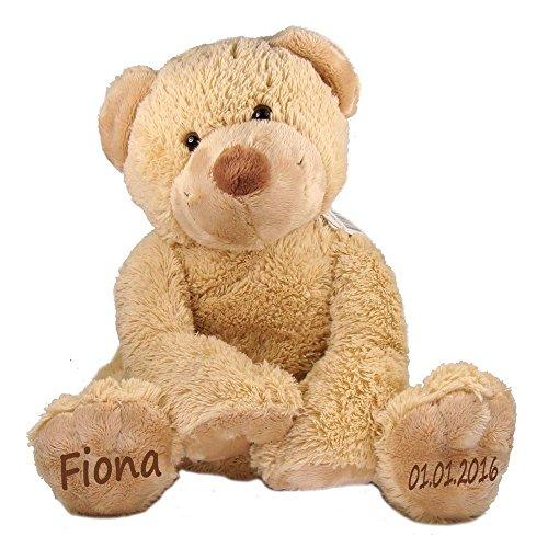 Stofftier Teddy Bär Geschenk mit Namen und Geburtsdatum personalisiert 25cm