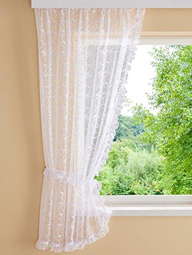 Mit Spitzenkanten Weiß Gardinen Blumenfenster Bogenstore Und Seitenschals