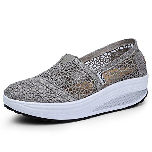 Netz Plateau Wedges Freizeitschuhe Sneaker Keilabsatz Atmungsaktiv Slip on Mesh-oberfläche Schuhe Laufschuhe Sommer Loafers Damen