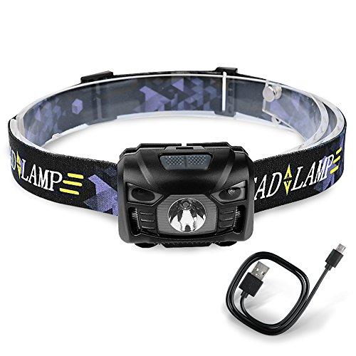 Lámpara de Cabeza de Sensor LED Recargable con USB Cable IPX4 Impermeable 4 Modos de Luz Linterna de Cabeza Para Correr, Pesca, Ciclismo, Camping,Trabajo en Noche-Neolight Z8 (Negro)