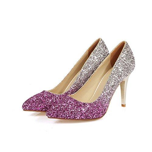 VogueZone009 Damen Gemischte Farbe Pu Leder Stiletto Spitz Zehe Ziehen Auf Pumps Schuhe Lila