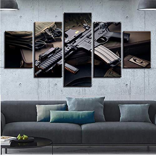 zxfcccky Kein Rahmen Leinwand Wandkunst Spiel Bilder 5 Stücke Machine Gun Gemälde Home Bild Decor Hd Drucke Maschinenpistole Poster Modular -