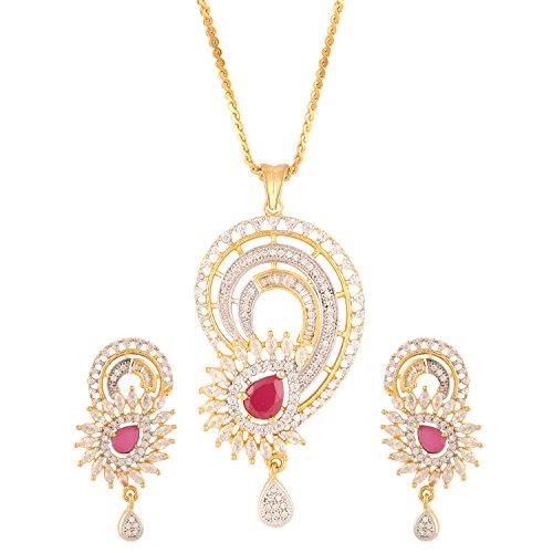 swasti-jewels-womens-american-diamond-peacock-cz-zircon-fashion-jewellery-set-pendant-earrings-red
