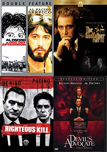Some Of The Greatest Hits Of One: Al Pacino - Serpico/ Dog Day Afternoon + The Godfather Part 3 + Righteous Kill + Devil's Advocate (5 Film DVD BUNDLE)
