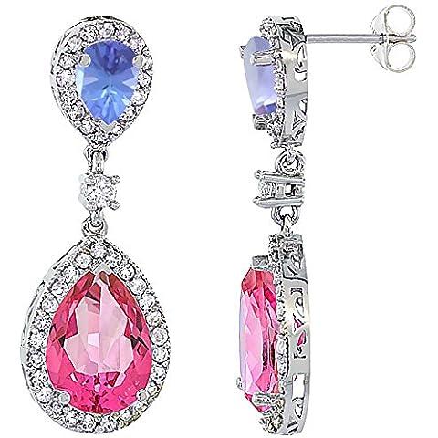 Oro bianco 14 k con topazio rosa &-Orecchini con pendente a goccia con zaffiro e Tanzanite & Diamond, colore: bianco - 14k Oro Bianco Tanzanite Goccia