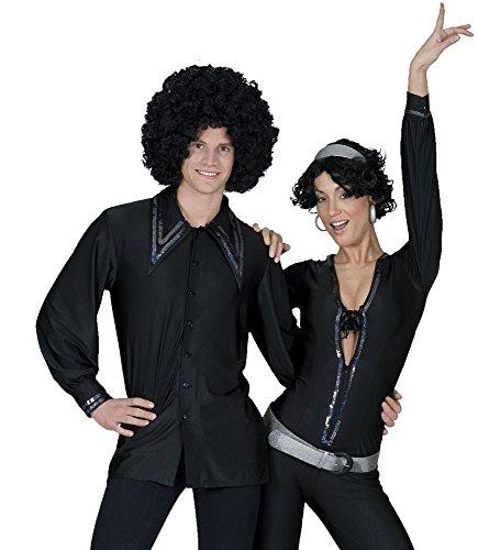 Show Herrenhemd Schwarz - zum Saturday Night Fever Disco 80er Jahre Kostüm - Gr. 48 50
