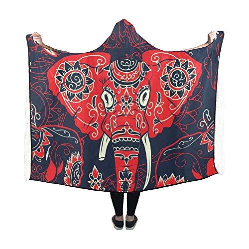 JOCHUAN Mit Kapuze Decke Day Dead Bunte Sugar Skull indische Decke 60 x 50 Zoll Comfotable Hooded Throw Wrap