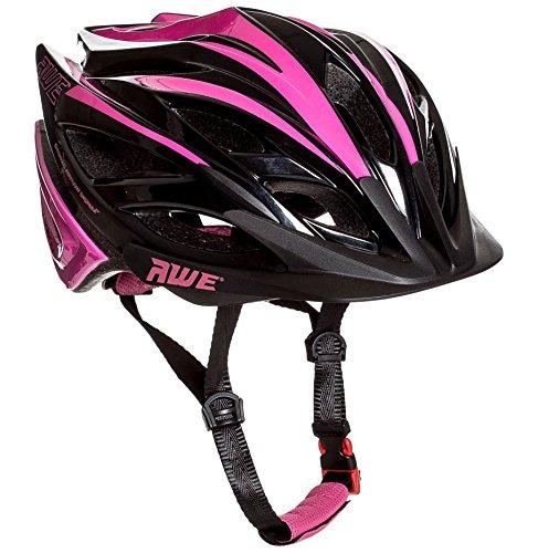 AWE® awebladetm gratis 5 Jahr Crash Ersatz * in Form Erwachsene Damen Fahrrad Helm 55-58 cm Rose/Schwarz (Damen Fahrrad Helm,)
