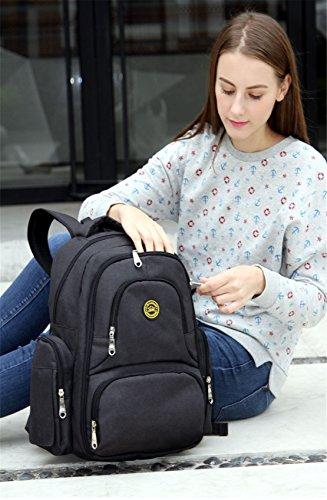 Chilsuessy Schwangerschaft Tasche Pflegetasche Windeltasche Babytasche Wickeltasche Multifunktionale Mama Handtasche mit Befestigung für Kinderwagen, Schwarz Schwarz