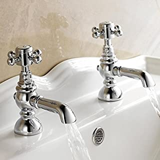 Low pressure Traditional Pair of Hot and Cold Basin Sink Taps Chrome Vintage Faucets TB31