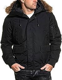 BLZ jeans - Blouson court parka hiver noir avec capuche fourrure stylé