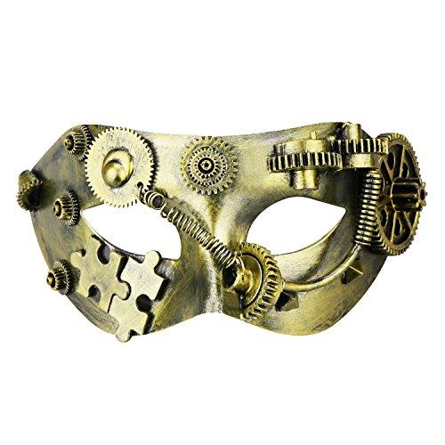 Coddsmz Maskerade Maske Steampunk Phantom der Oper Mechanische venezianische Party Maske (Antikes Gold 2)
