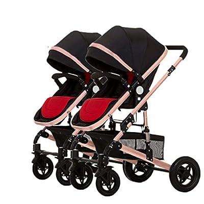 Double Strollers Cochecito Gemelos Plegable Sillas de Paseo gemelar dúo Twin Color Gris Puede Sentarse La Mitad De La Mentira 0-3 años de Edad,60Kg máximo