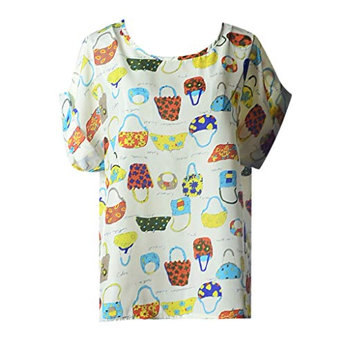 CANDLLY Damen T-Shirt, Bluse Kurzarm Damen Lässig Wild Tops Damen Oberteile O-Neck Top Pullover Lässige Psychedelische Tasche Drucken Chiffon Hemd Blusen (Machen Lego Kostüm Händen)