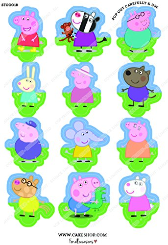 Image of Cakeshop 12 x PRE-CUT Peppa Pig Stand Up Edible Cake Toppers