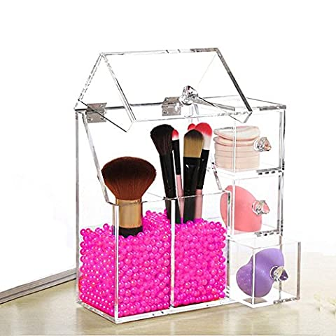 Lmeison Dust Free Clear Acrylic Makeup Organizer Makeup Brush Holder Jewelry Cosmetic Organizer Display Box With Free Glossy Rosy Pear