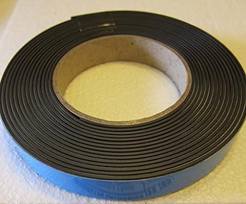 supa-mag Ruban magnétique, magnétisés accouplement avec adhésif en mousse et revêtement UV sur la face magnétique. 19mm de large x 1,5mm d'épaisseur Aimant En Mousse Plus 1mm. Capacité de traction 115± 5g/Longueur cm. Livré en rouleaux de 1M, 5m, 30m ou une boîte de 5à 30m