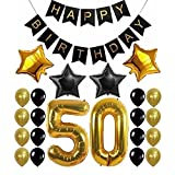 23 Stück/Set 30/40/50/60. Geburtstag Dekorationsset Glitzer goldene Geburtstagsbanner Gold Zahlen Ballon schwarz weiß gold 23pcs 50th
