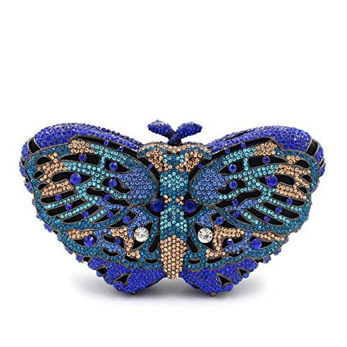 Donna di strass preferiti farfalla colorata Borse sera Wallet borsetta B