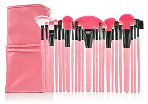 LyDia 24pcs Hot Pink Face Powder/Foundation/Concealer/Eyeshadow/Blending/Eyeliner/Lip Makeup Cosmetic Brush Set with Pink Case by LyDia