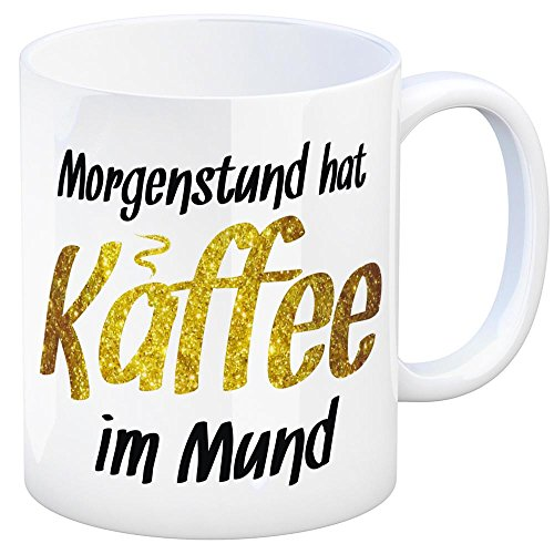 Kaffeebecher und Spruch: Morgenstund hat Kaffee im Mund - eine coole Tasse von trendaffe - passende weitere Begriffe dazu: Frühaufsteher, Kaffeejunkie, Cafe, Tasse, Kaffeetasse, Becher, mug, Teetasse oder Büro.