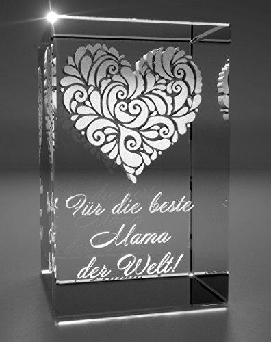 VIP-LASER 3D XL Glas Kristall mit verziertem Herz und Spruch Für die beste Mama der Welt! Gravur (Kristall Der Liebe)