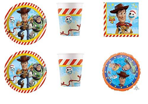 Party Store Web by Hause Toy Story 4 geordneter Tisch für Festa Woody und Buzz Lightyear - Kit Nr. 7 CDC-(16 Teller, 16 Gläser, 20 TOVAGLIOLI,1 Ball Foil) (Party-teller Story Toy)