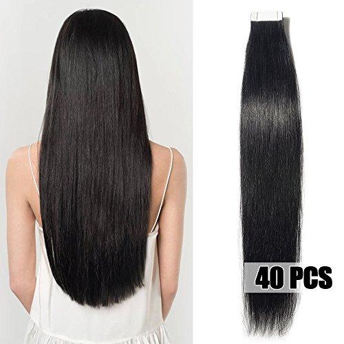 50cm extension adesive capelli veri 40 fasce 100g/set remy human hair tape in lisci umani riutilizzabile seamless, #1 nero