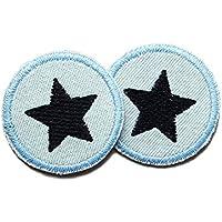 Set 2 Jeansflicken Stern Patch gestickt Flicken zum aufbügeln
