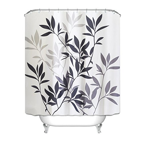 Cozy home aaa leaf pattern shower curtain 2018 nuovo tessuto in poliestere impermeabile e termicamente impermeabile interno di casa tenda impermeabile tenda 180cm * 180cm (nero grigio)