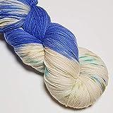 Meine Wollfee Sockenwolle High Twist 4-Fach handgefärbte Wolle (Natur blau)