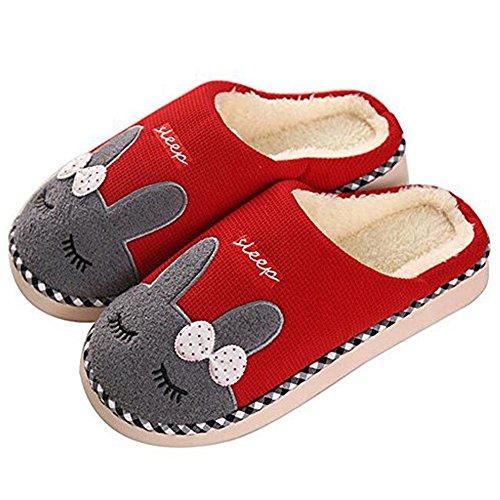 Saguaro inverno pantofole home morbido antiscivolo cotone scarpe caldo peluche casa pattini per donne uomini (36eu -36/37 asia, rosso)