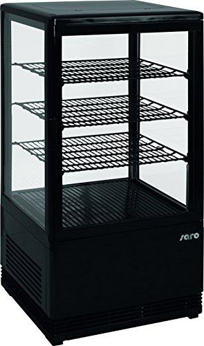 Saro 330-10051 Mini-Umluftkühlvitrine, Kunststoff, SC 70, 70 L, Schwarz -