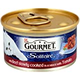 Gourmet Solitaire Wet Cat Food Beef Slowly Cooked in a Sauce with Tomato, 85 g - Pack of 12