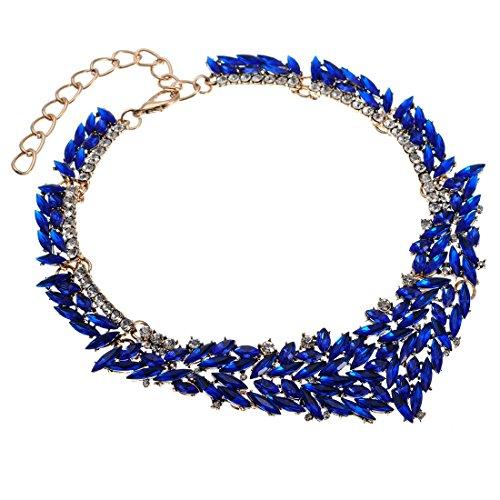Jerollin Damen Künstliche Kristall Crystal Diamant Glas Choker Halskette Statement Kette Modeschmuck Anhänger Halsreif Collier