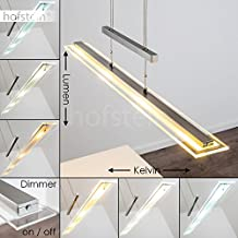 Dimmbare LED Pendelleuchte Junsele Aus Metall Nickel   Längliche  Höhenverstellbare Zimmerlampe Für Esszimmer   Wohnzimmer