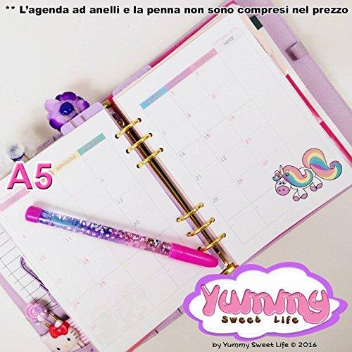A5 - Personal - REFILL handmade per agende planner Mese su 2 pagine Rainbow l'unicorno