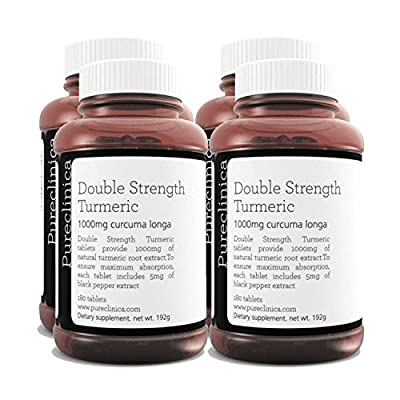Double Strength Turmeric - Massive 1000mg x 720 tablets - 200% more Turmeric and natural levels of the potent Curcumin per tablet - AND 5mg black pepper extract for 300% increased absorption. SKU: TURMx4 from Pureclinica
