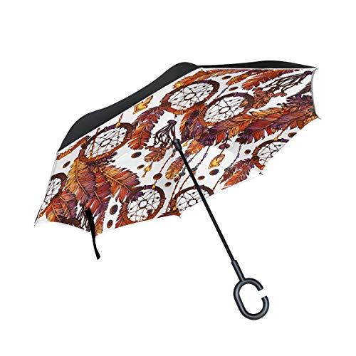 Diseño Delicado Atrapasueños Tribales Capa Doble Plegable Protección contra Rayos Ultravioleta A Prueba de Viento Coches Rectos Inversa de Golf Paraguas invertido manija en Forma de C Lluvia de Autos