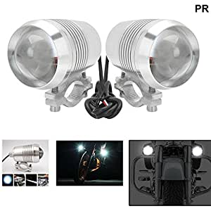 PR U2 LED Motorycle Fog Light Bike Projector Auxillary Spot Beam Light (Silver, 2Pc) High Beam,Low Beam,Flashing Modes with and For Bajaj Pulsar 200