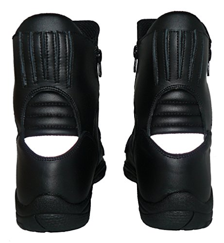 Protectwear TB-ALN-45 halbhoher Motorradstiefel, Tourenstiefel, Allroundstiefel aus schwarzem Leder mit 2 Reißverschlüssen, Größe 45, Schwarz - 7