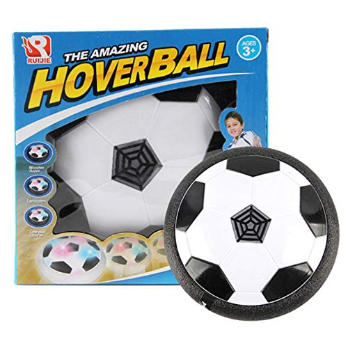 HoganeyVan Toy Ball Funny LED Light Flashing Ball Toy Air Power Soccer Ball Disc Indoor Football Toy Multi-Surface Hovering Gliding Toy -
