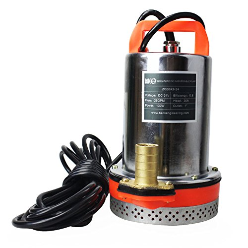"Performance data:  Voltage:24V Power:130W  Caliber:25mm(1"")  Capacity:26.4US.GPM Max Head:9m (30ft) Cable length: 6m Product Size: 160mm * 160mm * 240mm Weight: 3.2kg  Features: The DC 12V submersible pump with matched power supply is a wonderful wat..."